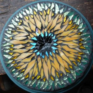 "Glass and gold smalti on wood, 8"". ©Margaret Almon"