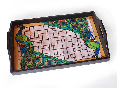 Peacock Mosaic Serving Tray
