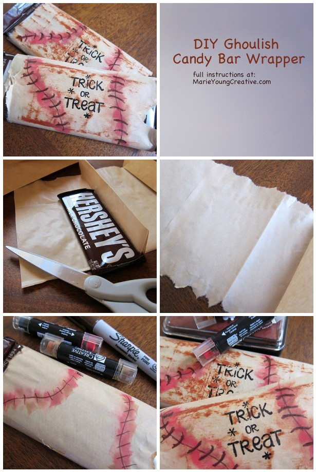 DIY Ghoulish Candy Bar Halloween Favor Tutorial