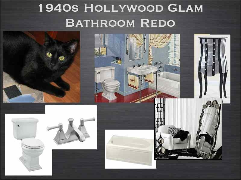 Design board for a 1940s Hollywood Glam Bathroom