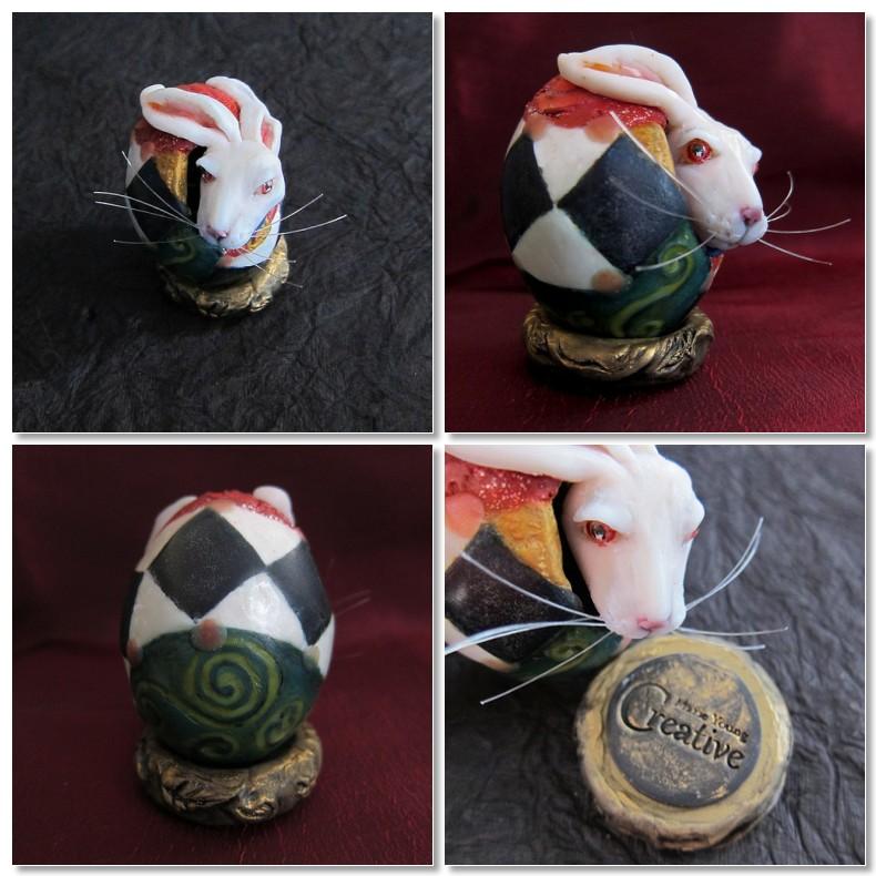 Wonderland White Rabbit egg art