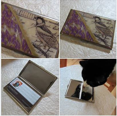 purple and yellow bird business card holder