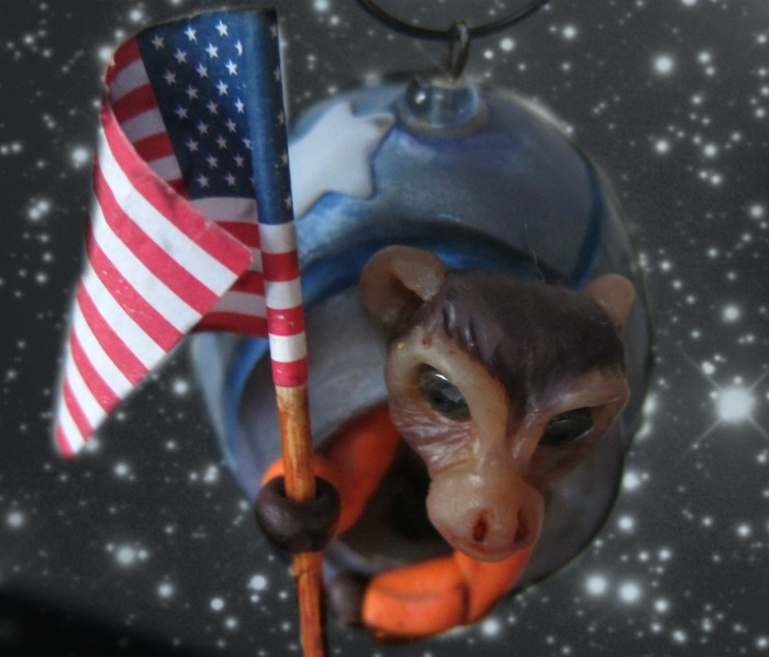 """Glory Days of the Space Race: monkey astronaut ornament"