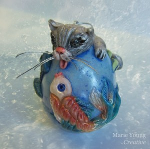Gone Fishing: handcrafted egg art ornament