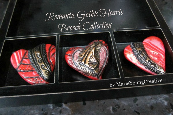 Romantic Gothic Hearts Brooch Collection by Marie Young Creative