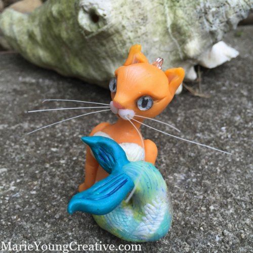 Whimsical one-of-a-kind cat mermaid ornament