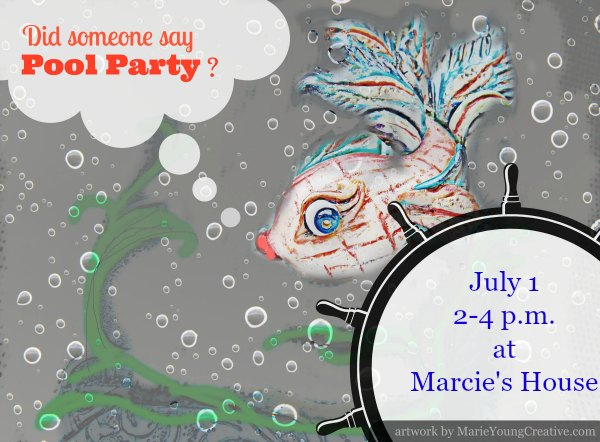 sample text on free pool party invitation graphic