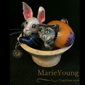 White Rabbit and Cheshire Cat Egg Art Ornements